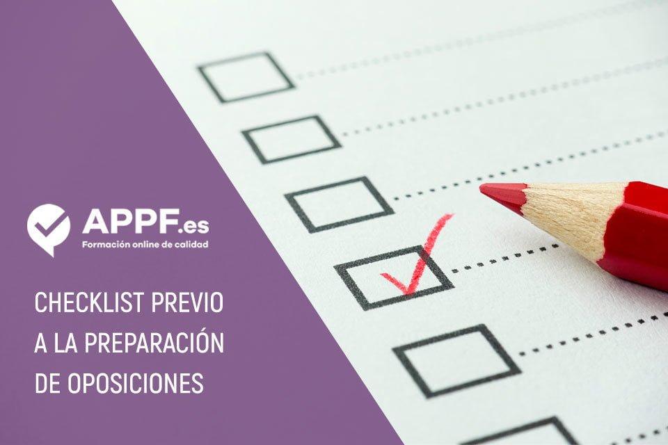 Checklist previo a la preparación de oposiciones