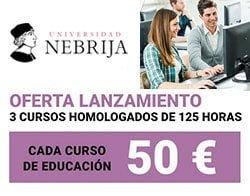 oferta cursos homologados para docentes de la universidad de Nebrija a distancia